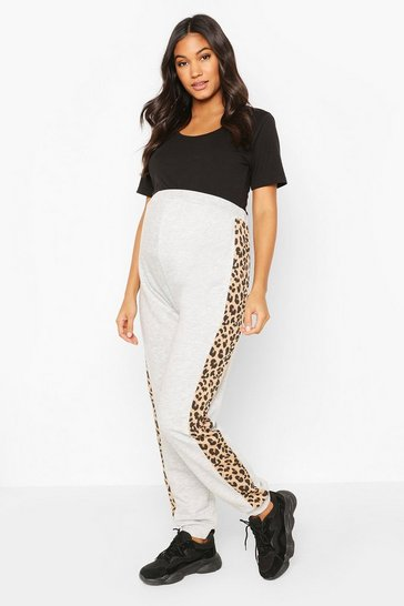 Grey Maternity Leopard Panel Jogger