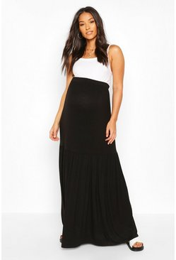 Black Maternity Smock Maxi Skirt