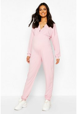 Dusky pink Maternity Hooded Nursing Lounge Jumpsuit