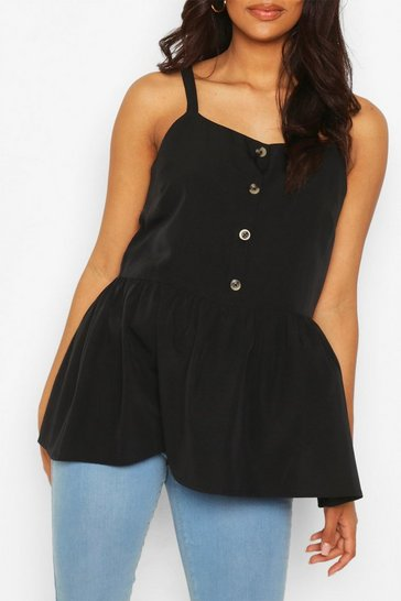 Black Maternity Button Front Cami Smock Top