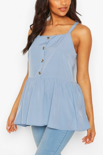 Pastel blue Maternity Button Front Cami Smock Top
