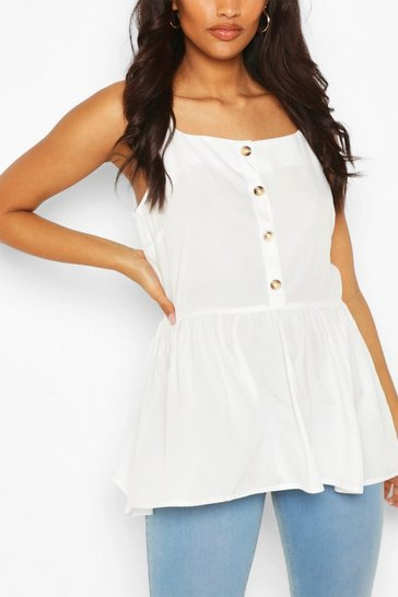 White Maternity Button Front Cami Smock Top