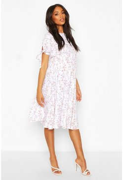 White Maternity Woven Floral Smock Dress