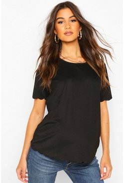 Black Maternity Scallop Edge T-Shirt