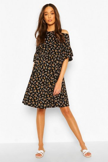 Black Maternity Cold Shoulder Ditsy Smock Dress