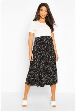 Black Maternity Midi Polka Dot Skirt