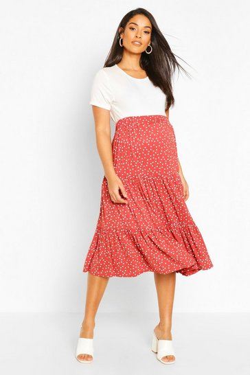 Rust Maternity Midi Polka Dot Skirt