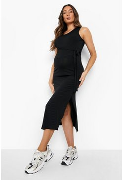 Black Maternity Ribbed Tie Midi Dress