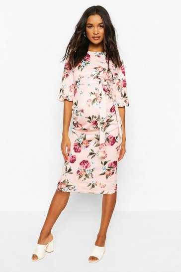 Pink Maternity Floral Ruffle Midi Bodycon Dress