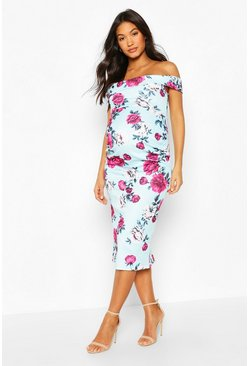 Blue Maternity Bardot Floral Midi Bodycon Dress