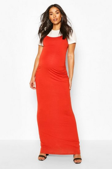 Rust Maternity 2 in 1 T-Shirt Maxi Dress