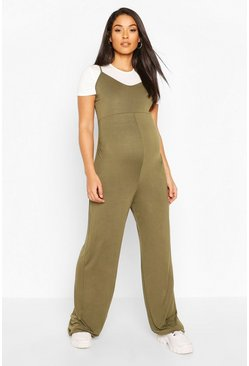 Khaki Maternity 2 in 1 T-Shirt Jumpsuit