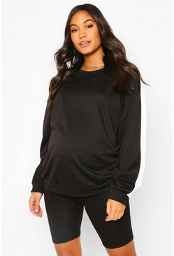 Black Maternity Stripe Sleeve Crew Neck Sweat