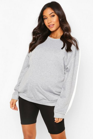 Grey Maternity Stripe Sleeve Crew Neck Sweat