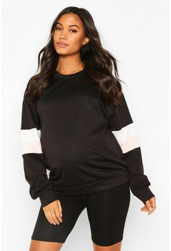 Maternity Stripe Arm Detail Crew Sweat, Black