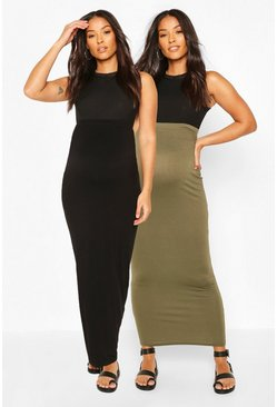 Khaki Maternity 2 Pack Maxi Skirt
