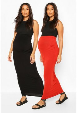 Rust Maternity 2 Pack Maxi Skirt
