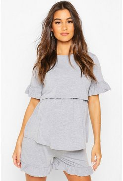 Light grey Maternity Ruffle Hem Nursing Shorts Set