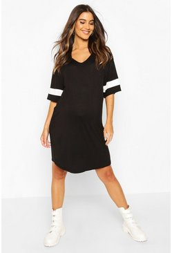 Black Maternity Sports Stripe T-Shirt Dress