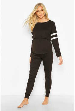 Black Maternity Stripe Detail Nursing Lounge Set