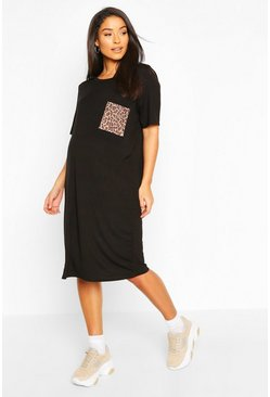 Black Maternity Leopard Pocket T-Shirt Dress