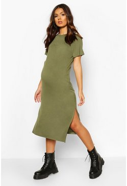 Khaki Maternity Side Split Short Sleeve T-Shirt Dress