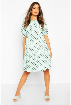 Mint Maternity Tierred Balloon Sleeve Smock Dress