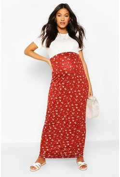 Rust Maternity Ditsy Maxi Skirt