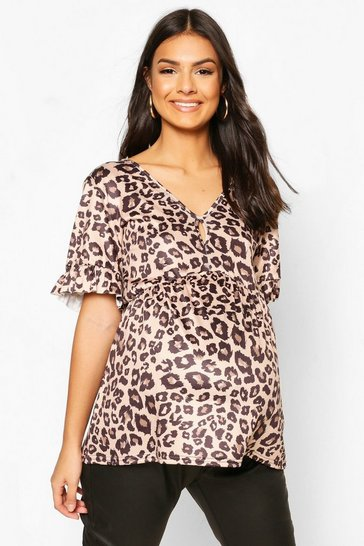 Black Maternity Leopard Print Smock Top