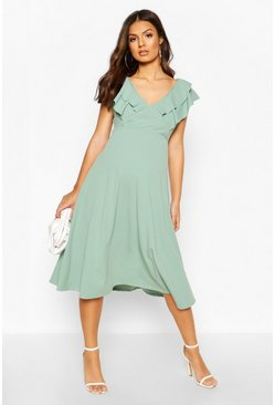 Sage Maternity Frill Collar Midi Dress