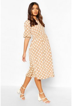 Mocha Maternity Midi Polka Dot Dress