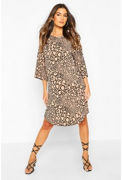 Maternity Leopard Ribbed T-Shirt Dress , Stone