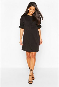 Black Maternity Sweat Smock Dress