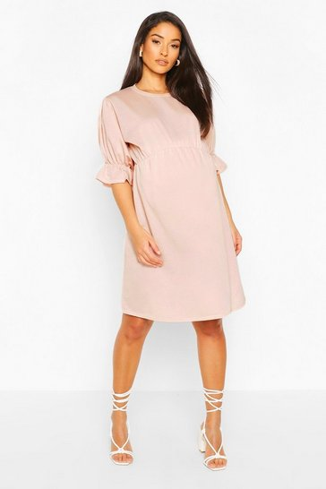 Pink Maternity Sweat Smock Dress