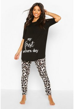 Black Maternity 1st Mothers Day Slogan Pj Trouser Set