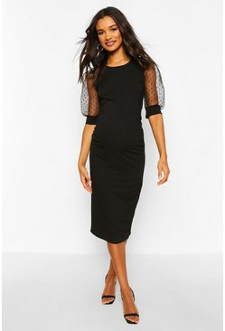 Black Maternity Dobby Mesh Sleeve Bodycon Dress