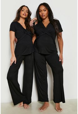 Black Maternity Wrap Front Nursing Pj Trouser Set