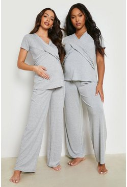 Grey Maternity Wrap Front Nursing Pj Trouser Set