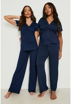 Navy Maternity Wrap Front Nursing Pj Trouser Set
