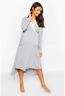 Grey marl Maternity Nursing Nightie & Robe Set