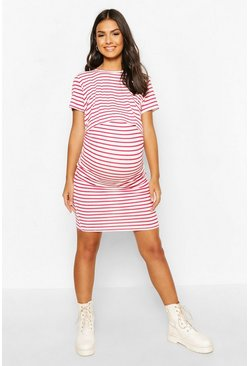 Red Maternity Stripe Nursing Dress