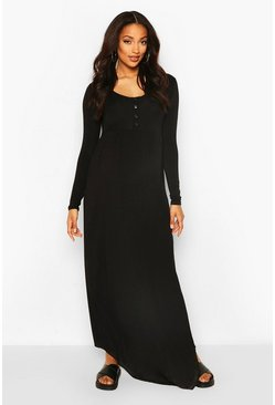 Black Maternity Long Sleeve Button Front Maxi Dress
