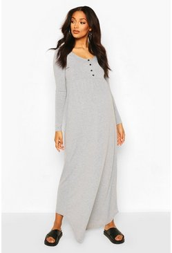Grey Maternity Long Sleeve Button Front Maxi Dress
