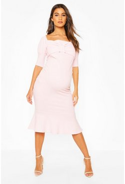 Baby pink Maternity Peplum Hem Cap Sleeve Midi Dress