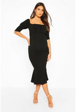 Black Maternity Peplum Hem Cap Sleeve Midi Dress