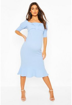 Cornflower Maternity Peplum Hem Cap Sleeve Midi Dress
