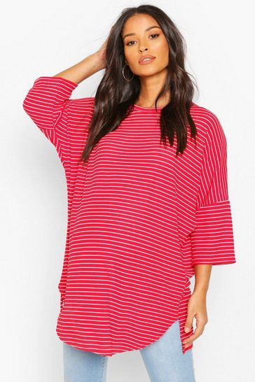 Red Maternity Oversized Stripe Ribbed T-Shirt