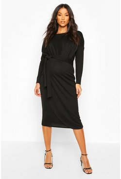 Black Maternity Long Sleeve Tie Side Midi Dress