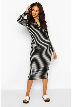 Black Maternity Nursing Stripe Rib Bodycon Dress