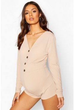 Taupe Maternity Button Front Lounge Romper